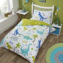 Dinosaurs Duvet Cover T-Rex Kids Boys Single Bed Quilt Bedding Set Green & Blue