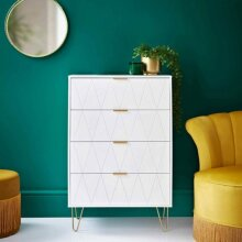 Loft Studio 4 Drawer Chest With Gold Finish Metal Legs Store Away all of Your Clothes - White