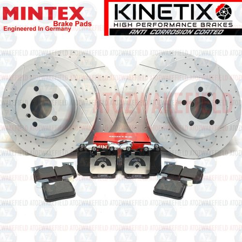 FOR BMW 335i 340i M SPORT FRONT REAR DIMPLED GROOVED BRAKE DISCS MINTEX PADS