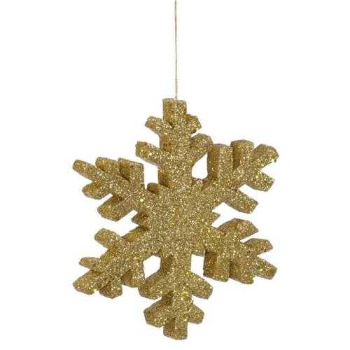 Vickerman L134908 36 in. Gold Glitter Snowflake Christmas Ornament - Pack of 4