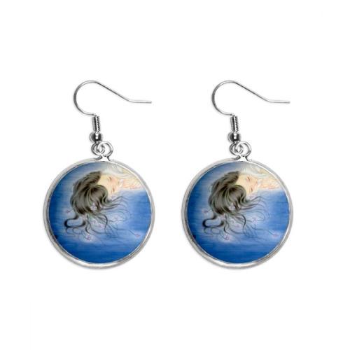 Paper-cut Horse Animal China Zodiac Ear Dangle Silver Drop Earring Jewelry Woman