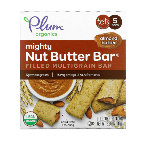 Plum Organics, 5 Mighty Nut Butter Bars, 15 Months+, Almond Butter