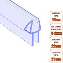 ECOSPA Bath Shower Screen Door Seal Strip 4-6mm Glass Gaps up to 21mm