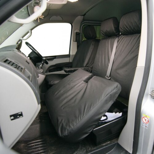 TOWN & COUNTRY Van Seat Cover - Front Double - Black - Volkswagen Transporter (2003 Onwards)  [TA3891]