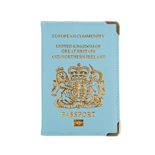 New UK Passport Holder Protector Cover Wallet PU Leather- Light Blue