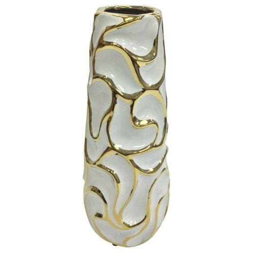 Rammento 30cm Tall Modern White & Gold Vase Flower Vase Slant Design Ceramic