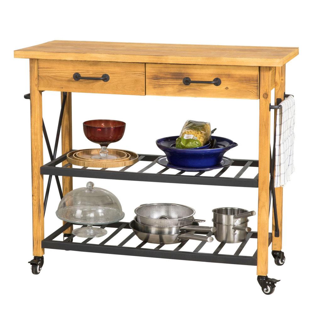 Wood Metal Kitchen Storage Trolley On