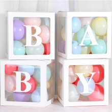4PCS Baby Showers Party Decorations Transparent Cardboard Box Gift