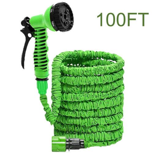 (Green, 100FT) Heavy Duty Expandable Garden & Carwash Magic Hose Pipe Spray Gun