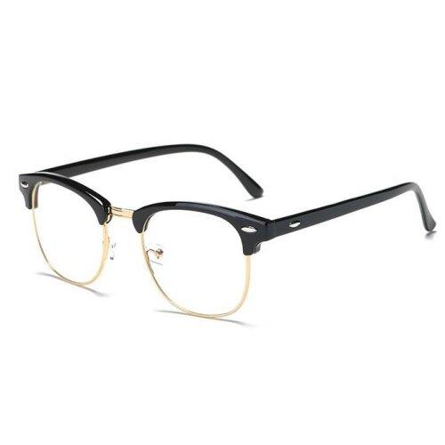 (black gold / -1.50) Classic Myopia Glasses Optical Glasses metal  Eyewear Frame For Women/Men