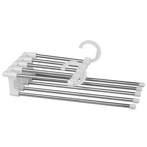 (White) Pants Trousers Rack Shelves Steel Multi-functional Wardrobe Magic Hanger Clips
