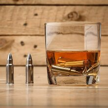 Stainless Steel 6PC Stone Bullet Whiskey Chilling Scotch Rocks Wine