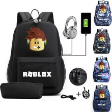 Roblox Anti-theft USB Charge Backpack Travel Bag