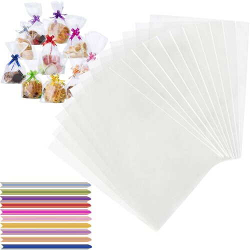 ExeQianming Clear Cellophane Bags Gift Bag with Twist Ties for Christmas Party Favours Wrapping Cupcakes & Sweets, 100pcs 23x12.5cm(L,W)