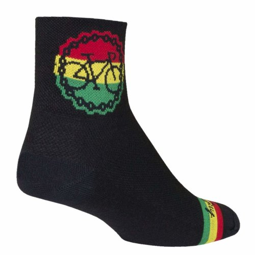 "Socks - Sockguy - 3"" Classic Rasta Ride S/M Cycling/Running"