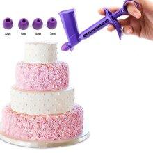 DIY Baking Tools - Detachable Pearl Applicator with 4 Transfer Heads , Cake Topper Pearl Gun , Ball Applicator