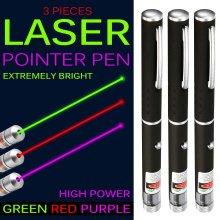 Pack of 3 Laser Pointer Pen Green Blue Violet Red Light Beam Powerful