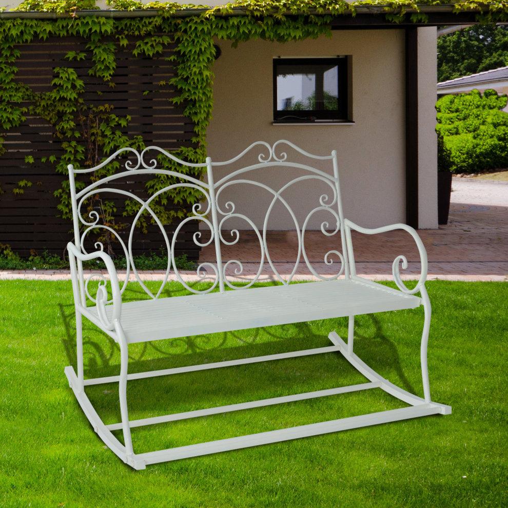 Outsunny 2 Seater Metal Garden Bench Outdoor Rocking Chair ...