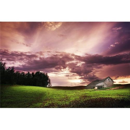 A Lonely Farm Building in An Open Field Poster Print by Chris & Kate Knorr, 34 x 22 - Large