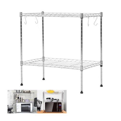 2 Tier Microwave Oven Rack Stand Stainless Steel Kitchen Storage Shelf