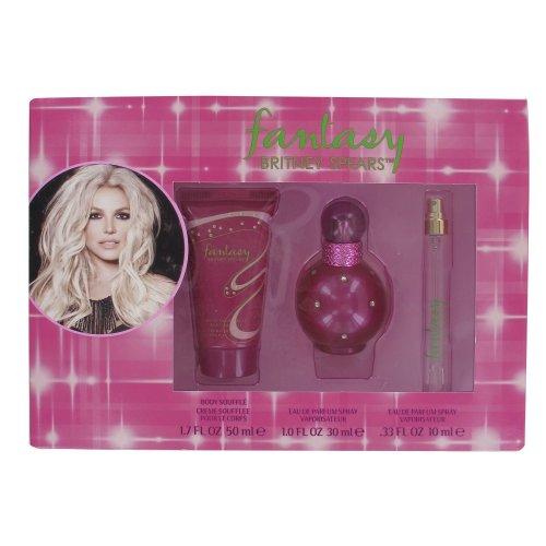Britney Spears Fantasy 30ml Eau de Parfum, 100ml Body Souffle and 10ml Rollerball Gift Set for Women
