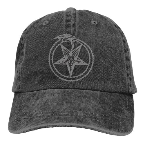 Grey Snake Circle Pentagram Satan Denim Baseball Caps
