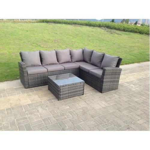 High back rattan corner sofa set table outdoor furniture mixed grey