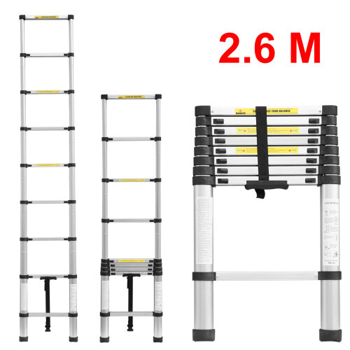 Telescopic loft ladder extendable collapsible step ladders secure bolt