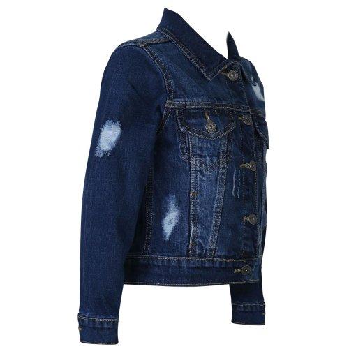 Kids Boys Denim Jackets Designer Dark Blue Ripped Jeans Fashion Coat Age 3-13 Yr