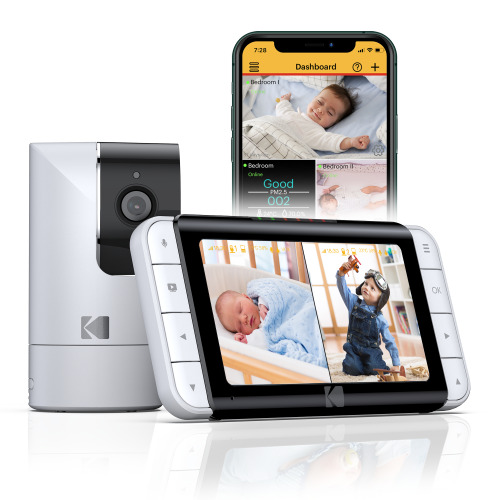 Kodak C525 WiFi Video Baby Monitor with Full Room View, Parent Unit for Constant Monitoring and App Quick Check-ins
