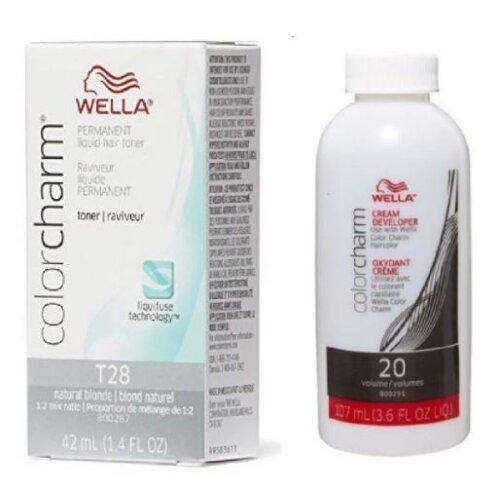(Wella T28 and 20 Vol. Developer) Wella Color Charm T28 Permanent Liquid Hair Toner and 20 Vol. Developer
