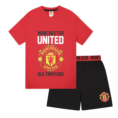 (Red, 2-3 Years) Manchester United FC Official Football Gift Boys Short Pyjamas