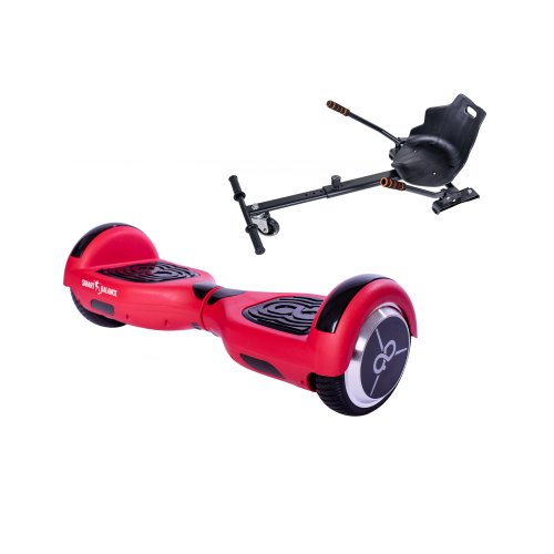 Package Hoverboard Smart Balance™ Premium Brand, Regular Red Mate Edition Skate Flash + Hoverseat, 6.5 inch wheels