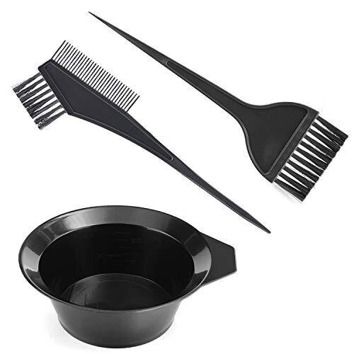 3Pcs Hair Colouring Tools, Gezimetie Hair Dyeing Tool Set, Brush Double-sided Coloring Comb and Bowl Set Kit DIY Salon