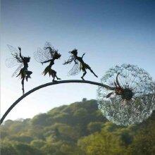 Fairies And Dandelions Dance Together Statue Garden Ornament Sculpture