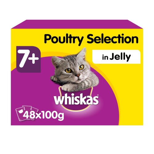 WHISKAS 7+ Cat Pouches Poultry Selection in Jelly 12x100g (Pack of 4)