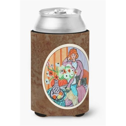 Lady with Her Pug Can or Bottle Hugger, 0.25 x 4 x 5.5 in.