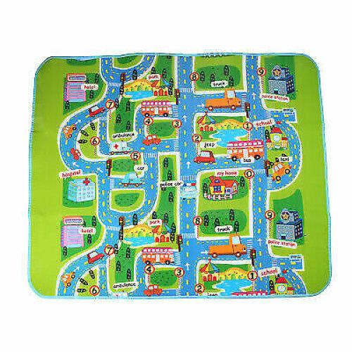 Village Map Kids Rug - 130 x 160cm   Waterproof Children's Play Mat