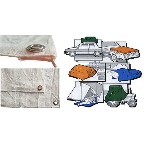 (1.4m x 2m) Strong White durable tarpaulin + reinforced edge