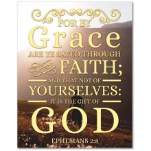 Ephesians 2:8 Bible Verse Printed On Ready To Hang Stretched Canvas Religious Wall Art