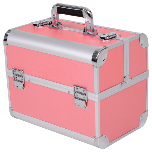 HOMCOM Reinforced Mini Travel Makeup Jewelry Train Case W/ Handle, Lock, Pink