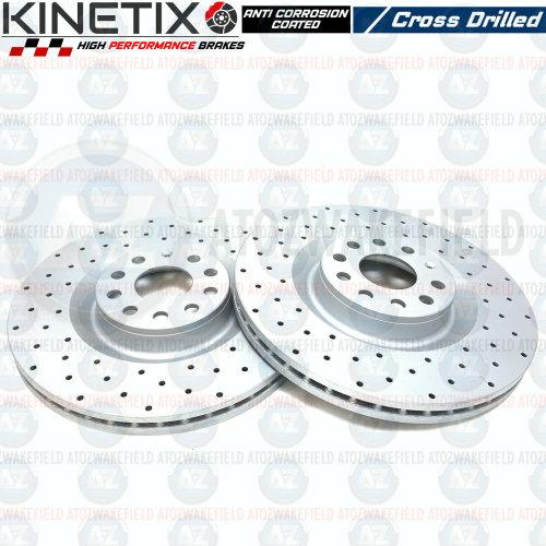 FOR VW PASSAT R36 FRONT KINETIX PERFORMANCE DRILLED VENTED BRAKE DISCS SET 345mm