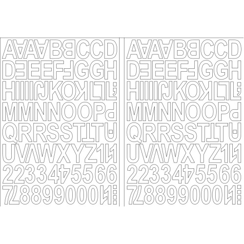 (White) Alphabet Letters & Numbers Stickers Label Peel Off Sticky 2.5cm High Mixed