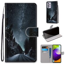 Samsung Galaxy A52 5G Case Pattern Cover Folio with kickstand Night paths