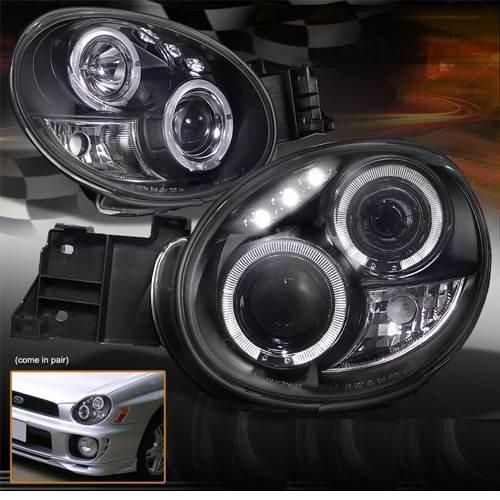 Subaru Impreza  10/2000-2/2003 Black Angel Eyes Headlights Pair