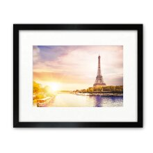 """16x11.5"""" For A4 Picture - Oxford Black Photo Frame With Soft Cream Mount - Glass Window"""