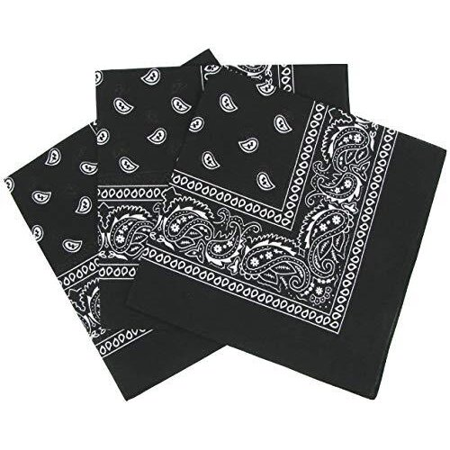 Paisley Bandanas Pack Of 3 Paisley Cotton Paisley Print Neck Scarf Head Band Wrist Scarf 100% Cotton Unisex Bandana (Black)