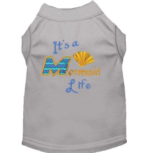 Mirage Pet 650-05 GYMD Mermaid Life Embroidered Dog Shirt, Gray - Medium