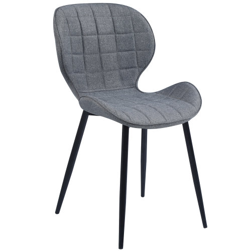 (Fabric Grey) Set of 2 Square Patterned Dining Chair In Velvet