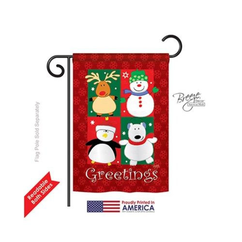 Breeze Decor 64063 Christmas Pals Greetings 2-Sided Impression Garden Flag - 13 x 18.5 in.